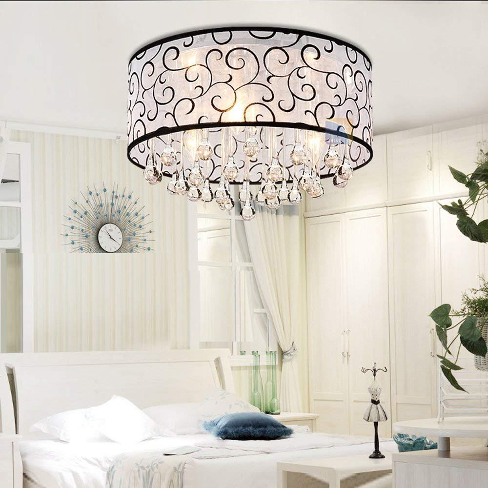 Oturma odası için Flush Monteli Modern Davul Tavan Işık Avize Lambası Fikstür Yağmur Damlası Dekorasyon Işık Fikstür