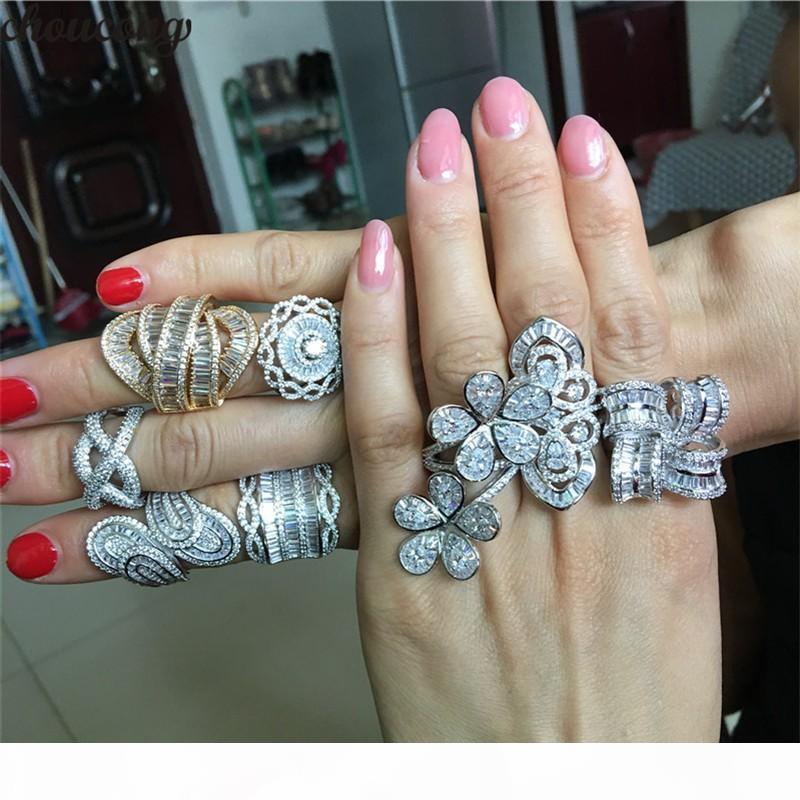 choucong 8 Arten Statement Luxus Promise Ring 5A Zircon 925 Sterlingsilber Unique Wedding Band Ringe für Frauen Partei Schmuck