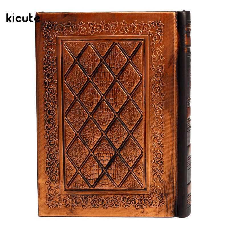 Papel de escrita 1pcs Vintage Design Diário Jornal Caderno de couro capa dura Sketchbook papel jornal do curso em branco