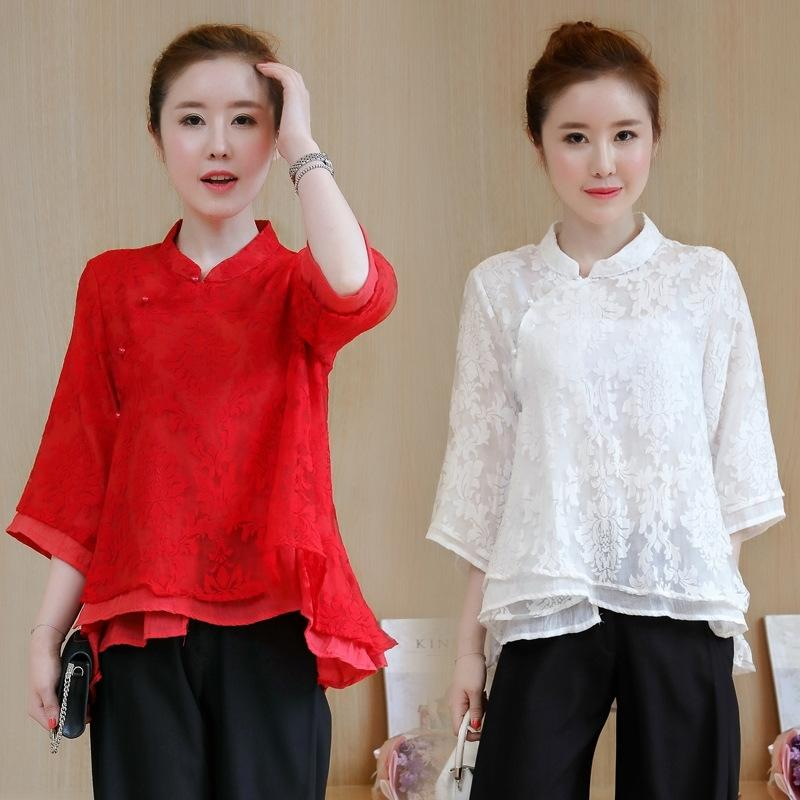 3LPTS merletto che dimagrimento artistico sciolto nuovo merletto ricamato cinese ricamato e nocN6 biancheria di cotone platecotton e camicia di lino per le donne