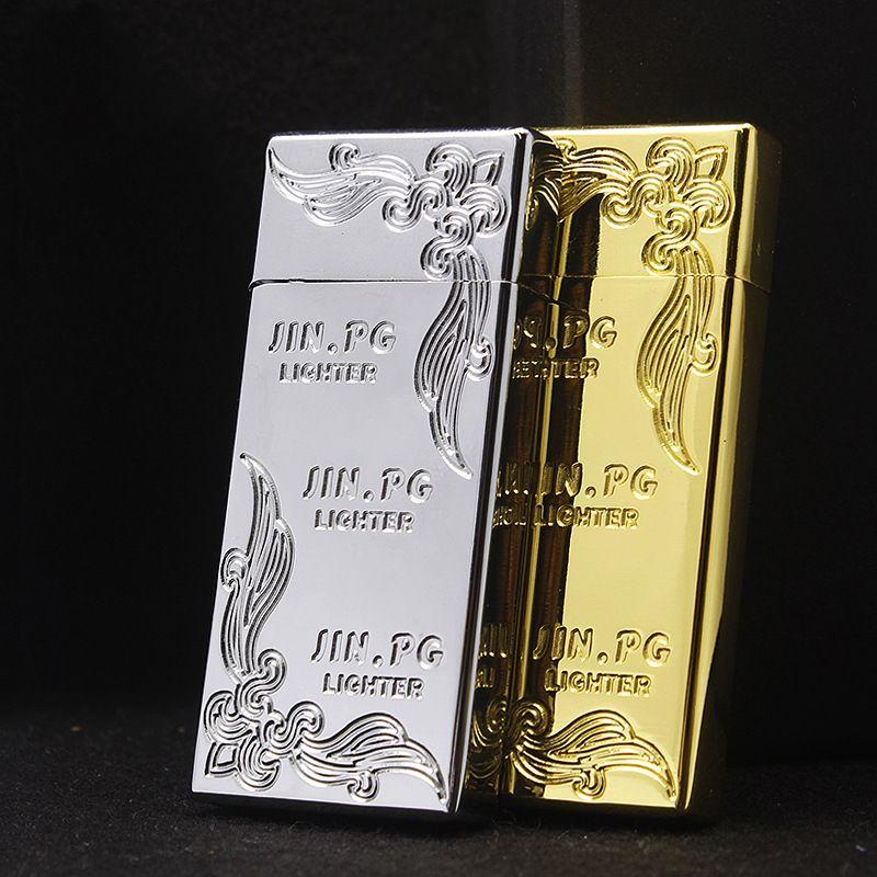New Ultra Thin Flint Briquet Essence Huile briquet rechargeable Kérosène allume-cigare en métal Rétro Gadgets pour hommes libres d'incendie