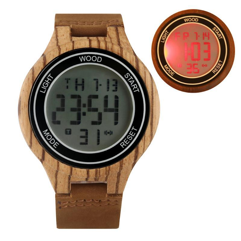 Men's Casual Wood Digital Watch Leather Strap Unique Digital LED Display Delicate Large Ebony Wooden Case Wristwatch