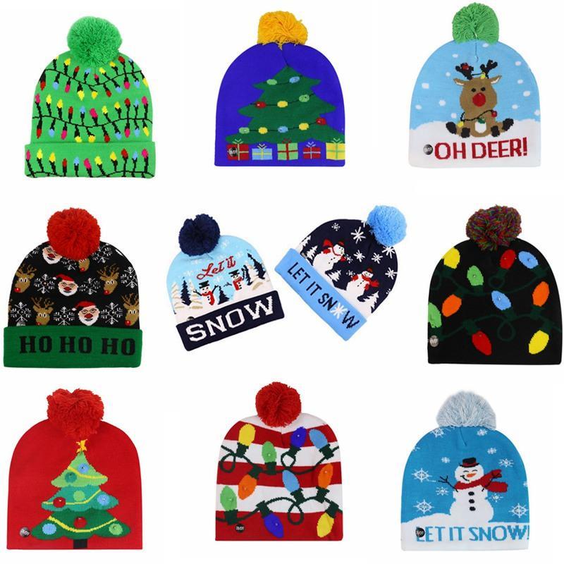 LED Light-up de Navidad de punto Beanie del copo de nieve de Navidad ganchillo sombreros Luz Pompon bola de esquí casquillo al aire libre Caliente Gorros Cráneo Cap IIA549