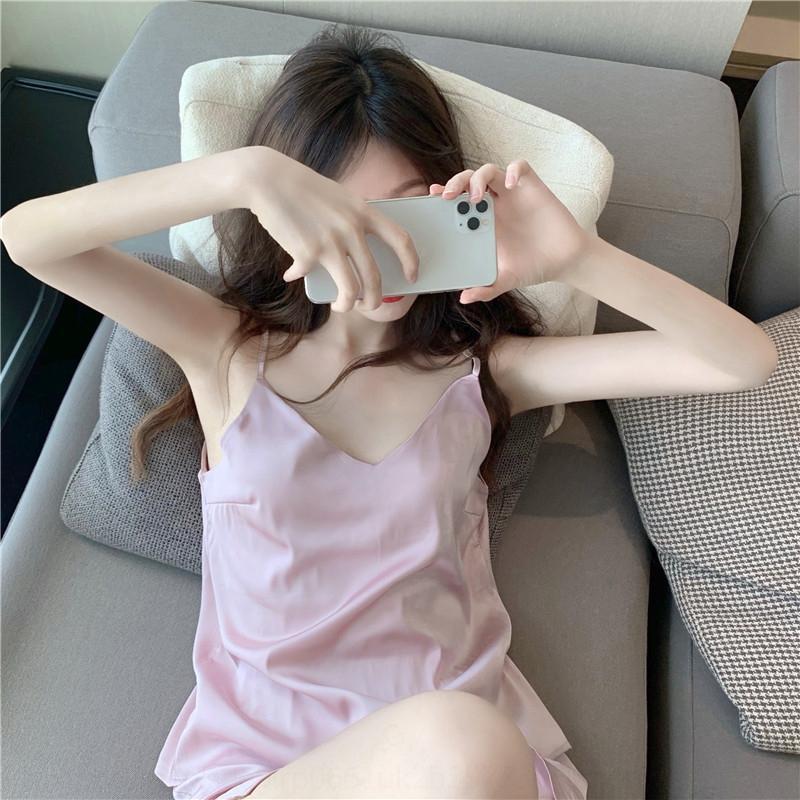 f4B7F aTxEO yaz yeni bir dizi seksi buz ipek kaşkorse pijama gündelik gevşek kadın ev giysileri ev giyim takımları pijama kısa pantolon