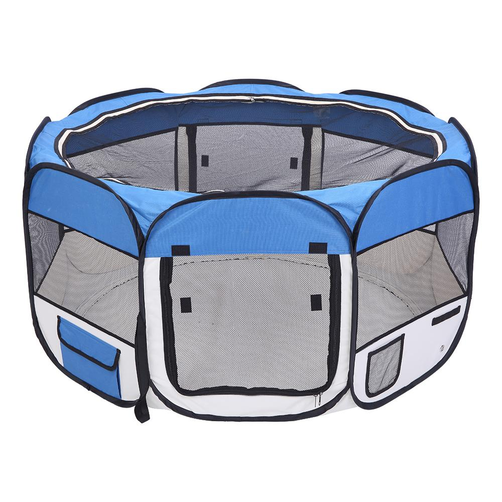 36inch Portable Foldable Dog Cat Crate 600D Oxford Cloth & Mesh Pet Playpen Fence with Eight Panels Pet Puppy Soft Tent Blue Free Shipping