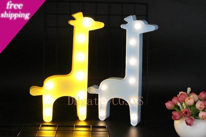 Ins Nuovo 1pc 3D LED Night Lights Giraffa Albero di Natale albero di cocco Nightlight scrittorio della lampada di notte per il bambino scherza Decorazione Camera Dropshipping