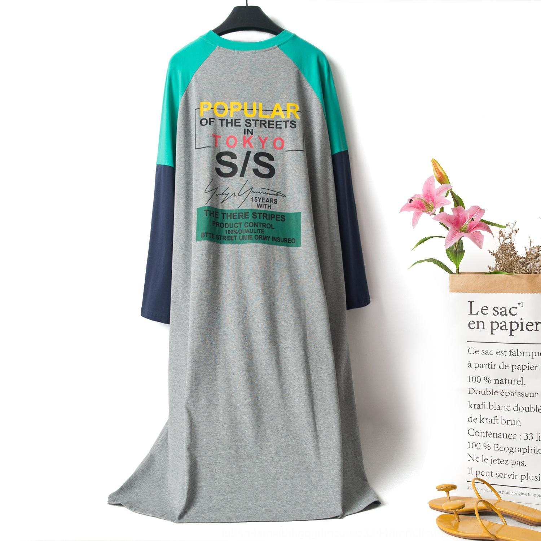 1KsSc vêtements en coton de style coréen pyjama maison de grande taille lettre à manches longues chemise de nuit pyjamas vêtements de la maison d'été des femmes col rond doux ex