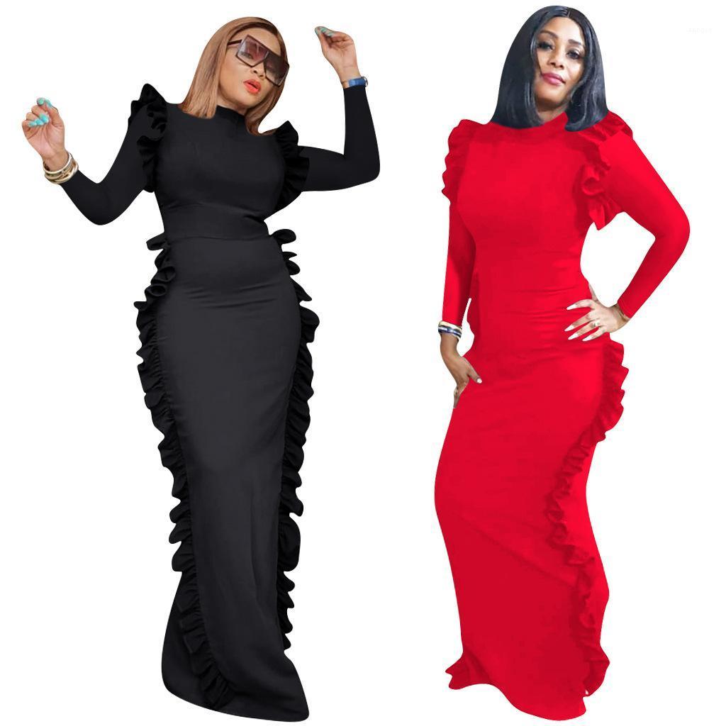 Festa Vestidos manga comprida cor sólida Ruffle Vestido Mid cintura Moda Casual Designer Ladies Vestuário Womens