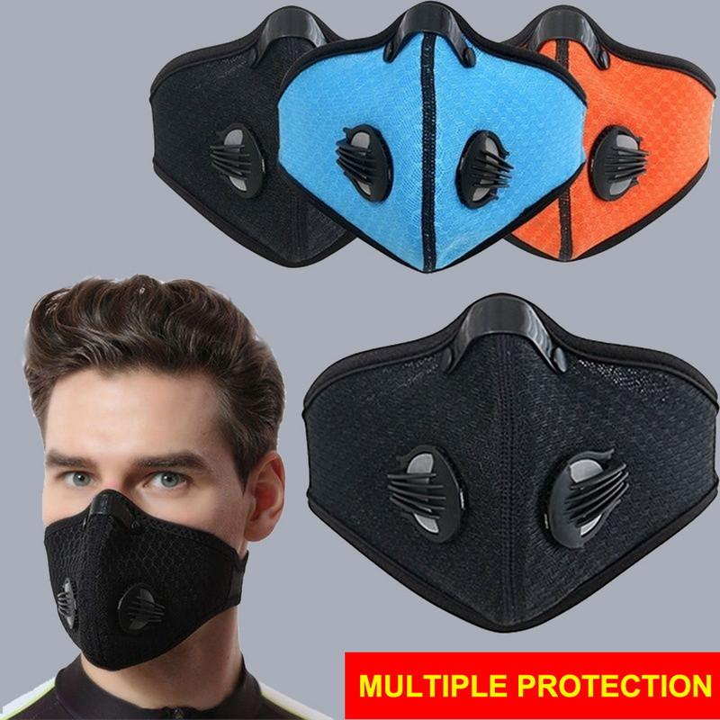 Activated Biking Mask Anti Dust with Bike Face Carbon Man Woman Running Cycling Anti-pollution Outdoor Bike Face Isolation Mask with Valves