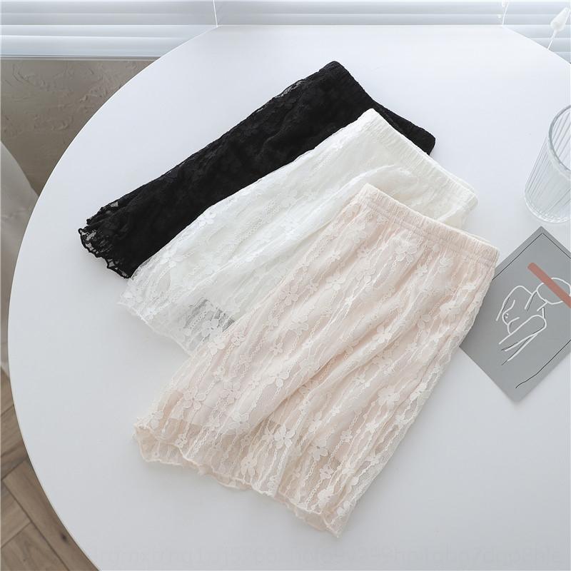Yaz karşıtı pozlama yüksek elastik şort emniyet pantolon Coat güvenlik pantolon boyutu dibe büyük kadın büyük boy ince dış w ile ek2Fu Dantel