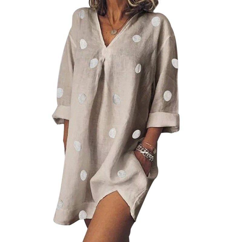 Плюс размер женщин платья лета Нерегулярное платье Сыпучие лето с длинным рукавом Мини Хлопок Лен Повседневный vestidos *