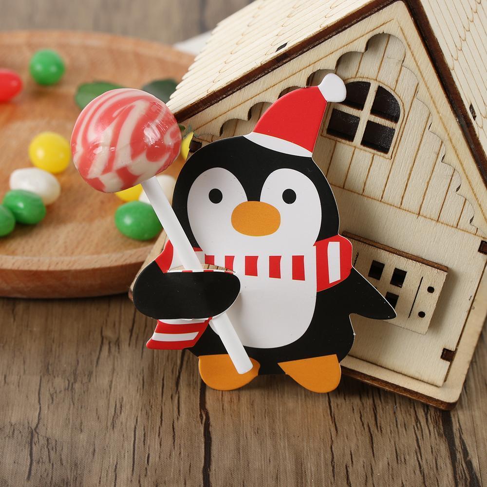 50PCS Xmas Дети Санта-Клаус Penguin Lollipop держатель Рождество бумаги украшения карты Candy Xmas Party Decor