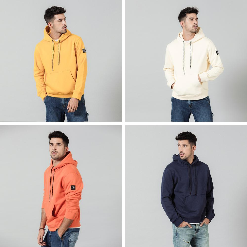 SIMWOOD Fashion Hoodies Men Casual Fleece Volltonfarbe mit Kapuze Street warme dicke Sweatshirts Jogger Plus Size SI980711 200923
