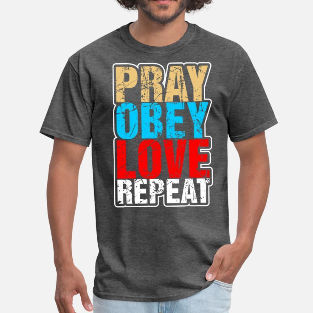 Harf Ünlü Komik İlkbahar Sonbahar Kawaii gömlek 3XL Pray Obey Aşk tekrarlayın t gömlek erkekler Baskı Kısa Kollu artı boyutu