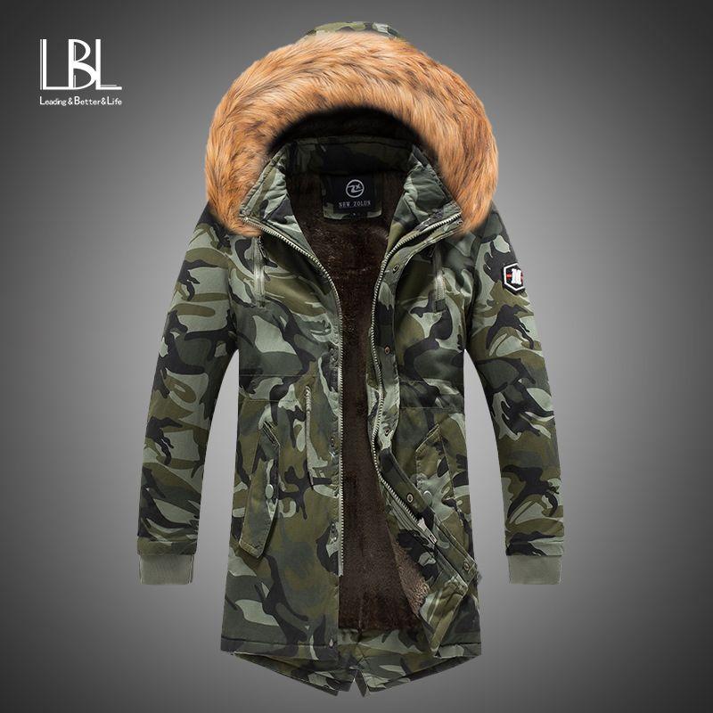 New Mens Camo Parka Camouflage Jacket Winter Hooded Velvet Thick Windproof Coat Men Warm Male's Medium-long Military Parkas T200902