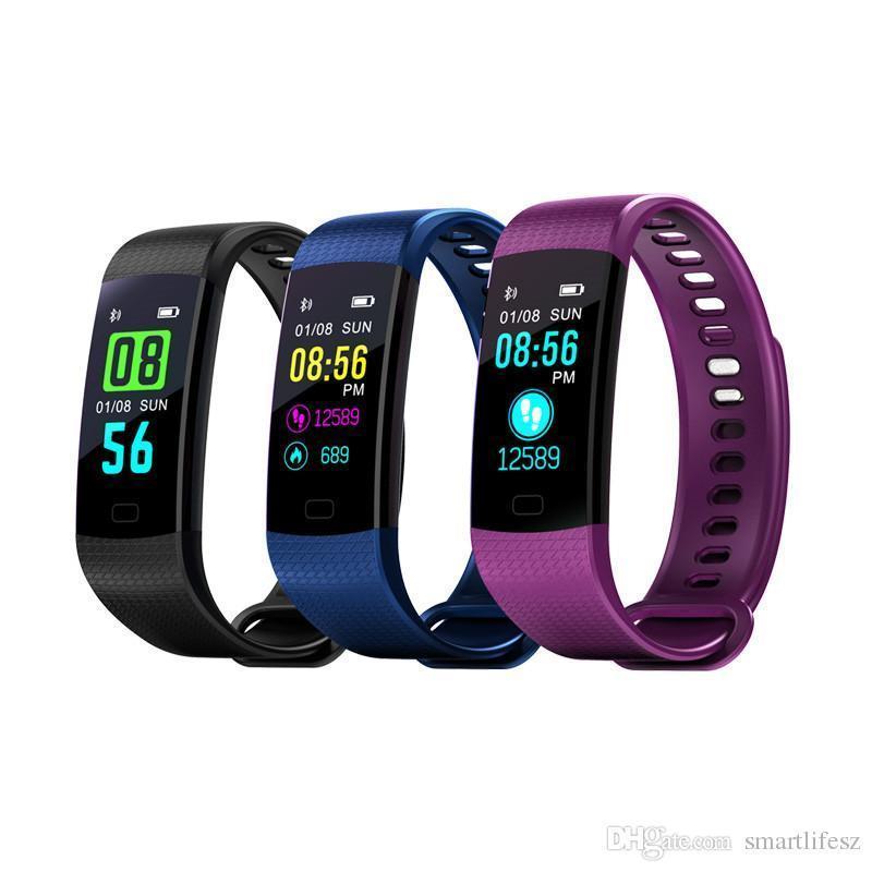 Bracciale schermo cgjxs Y5 colori Pressione intelligente Wristband Fitness Sport Tracker intelligente Banda Sangue frequenza cardiaca intelligente