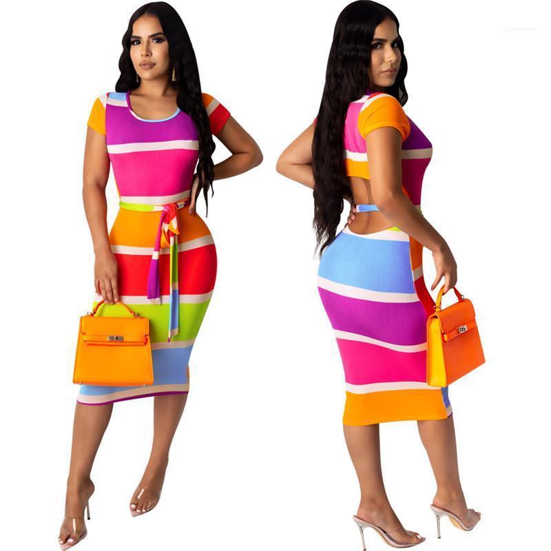 Sashes Elbise elbiseler Tasarımcı Çizgili Kasetli Giydirme Moda Kontrast Renk Günlük Elbiseler Seksi Skinny BODYCON Womens