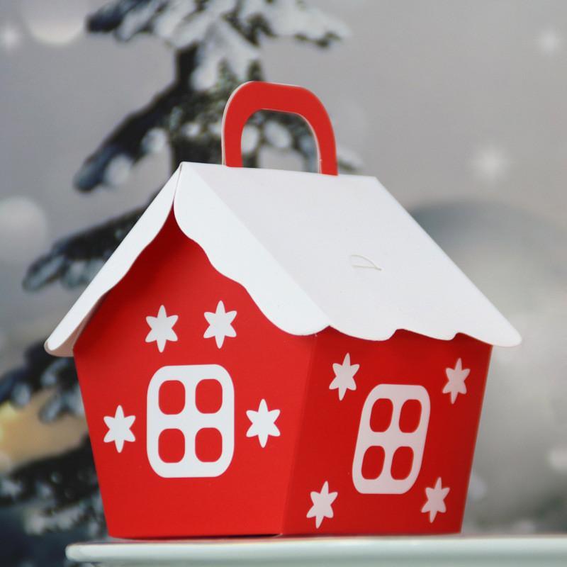 Çanta Ev Partisi Dekorasyon Noeller Packaging 100pcs Christmas House Şekli Şeker Çanta Noel Baba Hediye Kutusu DIY Kurabiye