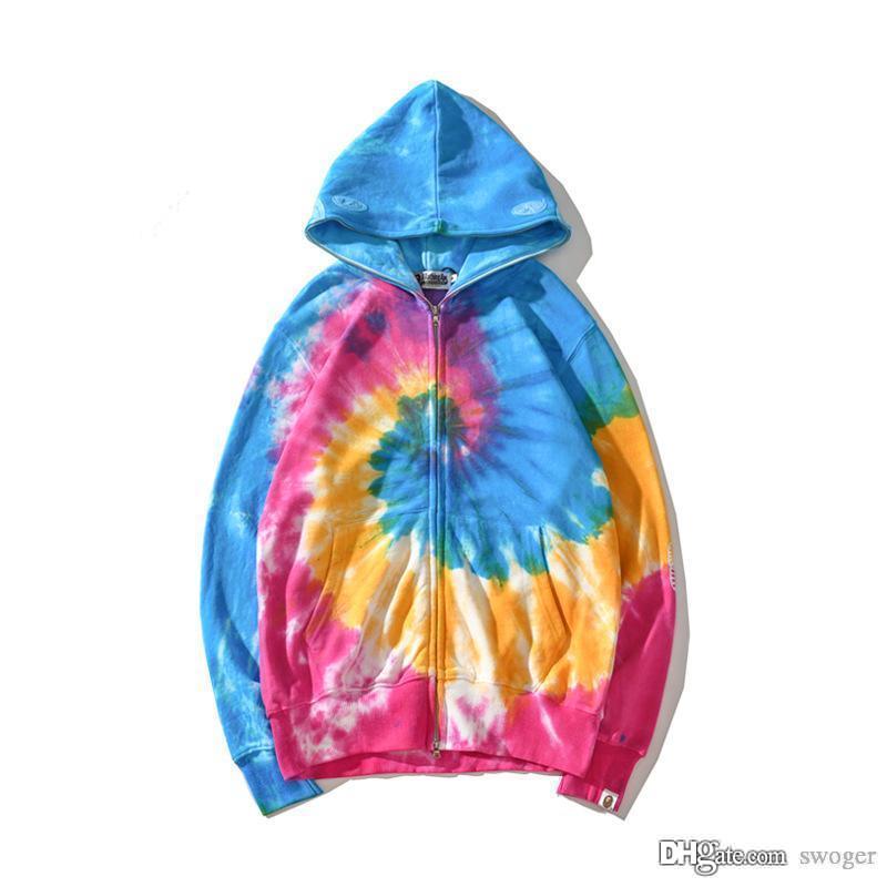 Herbst-Winter der neuen Männer Frauen Farbe Abbindebatik Gradient Sweater mit Kapuze Jacke Lővér beiläufige Sport-Kapuzen Hip Hop Hoodies