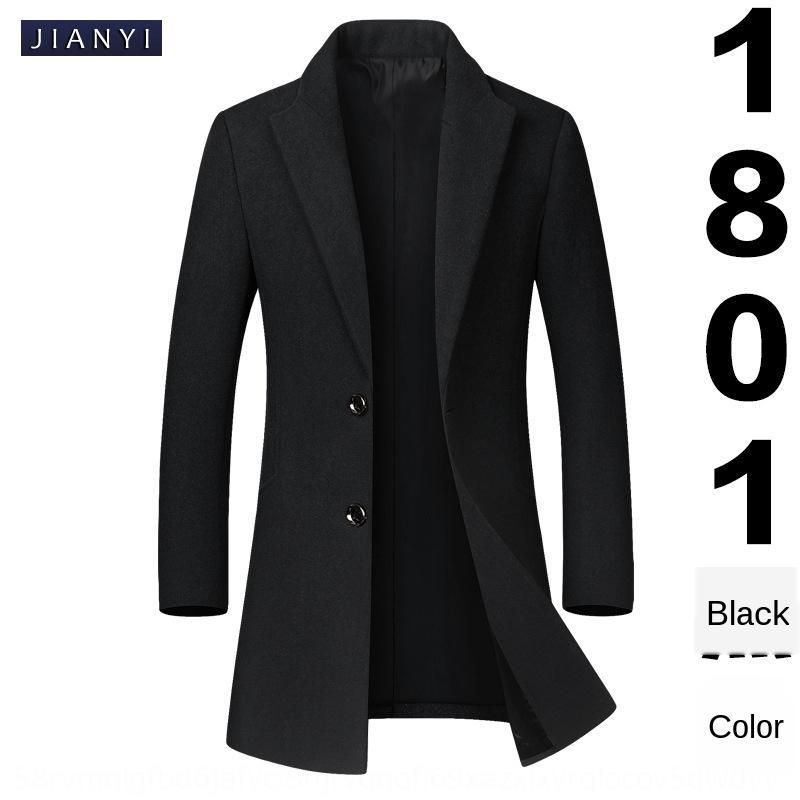 XcTEY Jianyi otoño de lana de lana de invierno y cazadora de lana de Corea del estilo de ajuste estrecho abrigo de gabardina mitad de la longitud de los hombres de la solapa de los hombres de lana