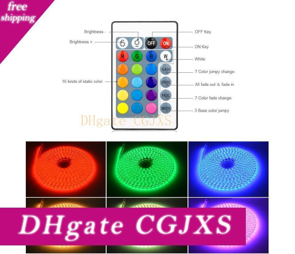 220v impermeabile SMD 5050 1m -25m Led nastro striscia principale flessibile luce con spina UE / RGB con telecomando Illuminazione esterna