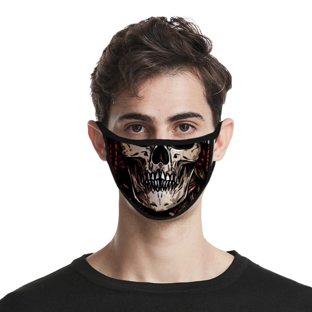2020 Mode européenne américain cool crâne tête 3D coupe-vent anti-poussière brouillard et la brume Lavable Résistant à l'eau Cotton Gauze Supply Is