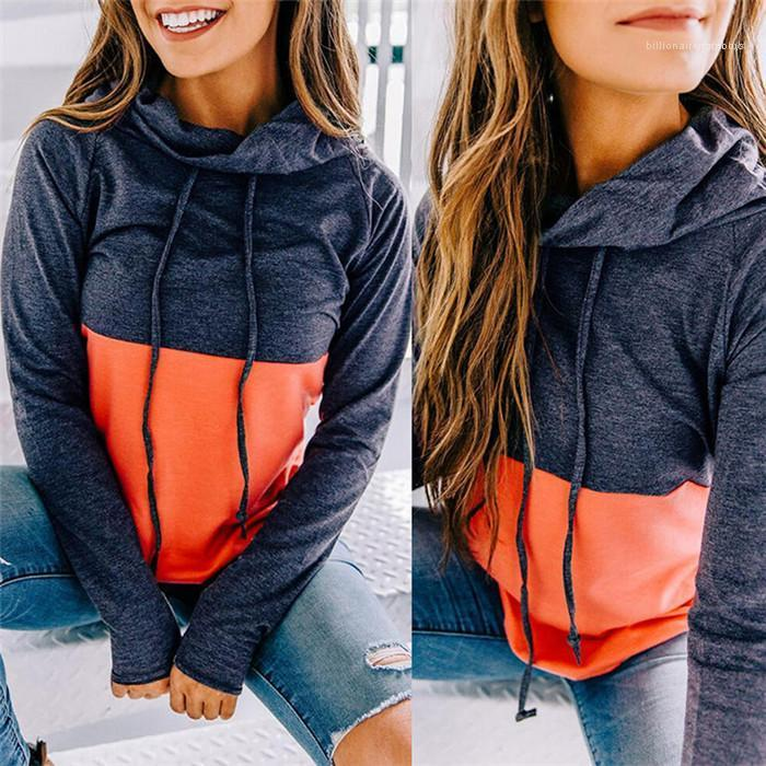 Casual Sweatshirts Frauen Stacked Neck Pullover Splice Solid Color Langarm Herbsthoodies-Damen