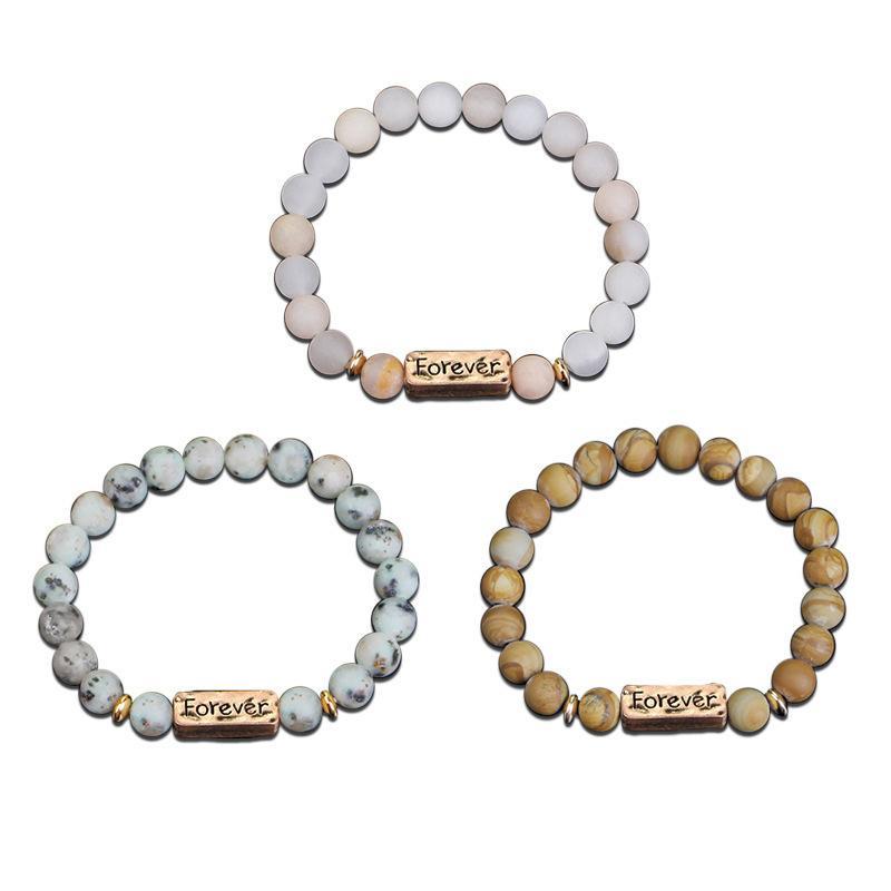 Popular pulseira pedra natural para sempre confiança venda estilo étnico quente para homens e mulheres