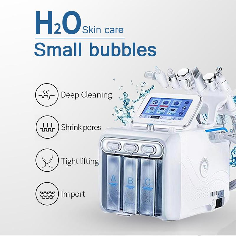 جديد 6 في 1 آلة hydrafacial هيدرو جلدي الوجه تقشير بالموجات فوق الصوتية الجلد الغسيل الأكسجين رذاذ العناية بالبشرة microdermabrasion