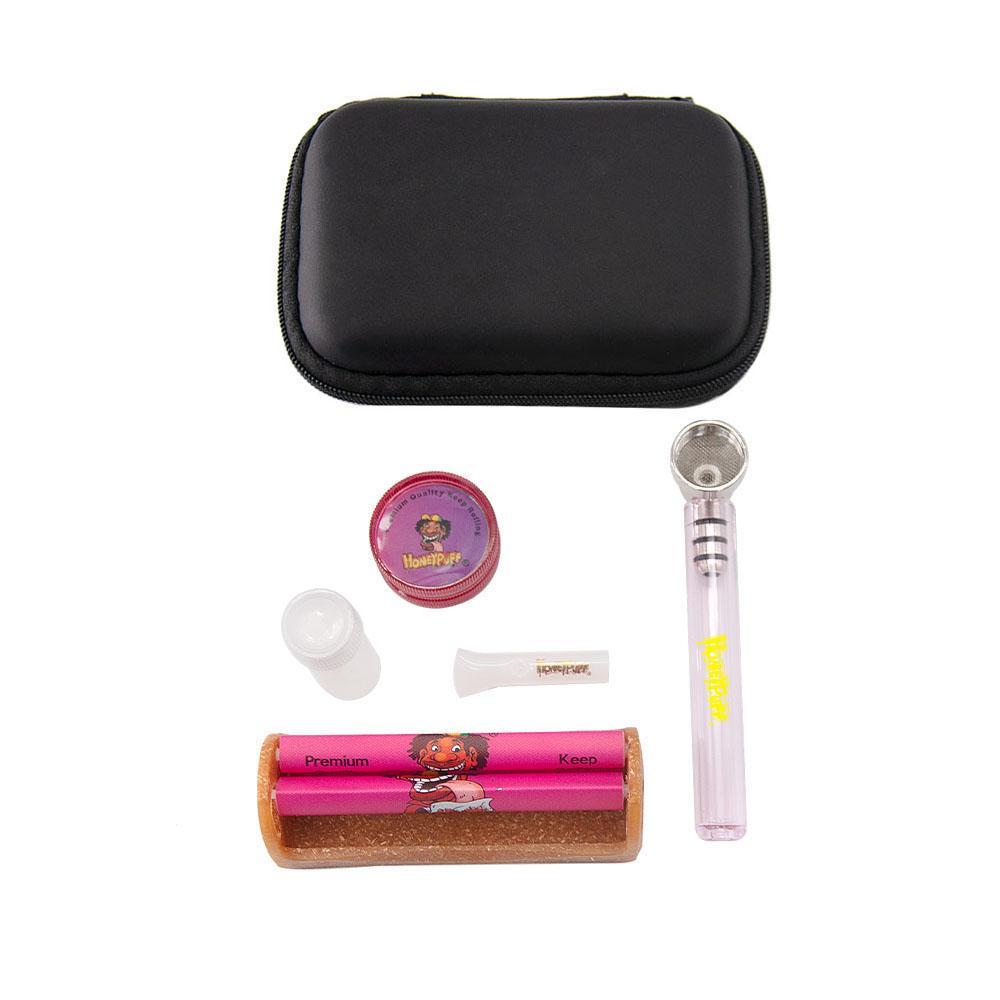 Glasrohrkit mit schwarzem Gehäuse Combo Eco Kunststoffwalzmaschine + Glasrohr mit Mundstück Tipp + Mini-Mühle Glasraucher-Pfeifensatz