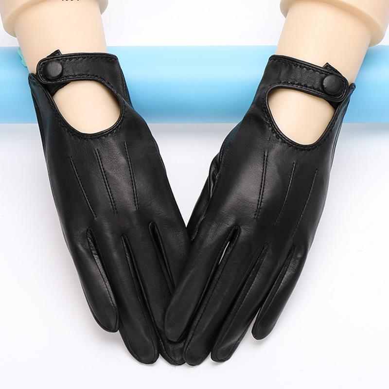 2020 echte Leder-Handschuhe Weiblich Frühling und Herbst dünne Art Unlined Art und Weise elegante Frau Schaffell-Handschuhe Schwarz Weiß TU1002