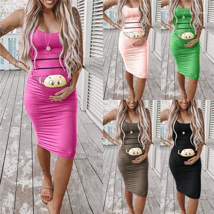Stil Çiçek Baskı Kadın Giyim Hamile Kadın Gündelik Giyim Bebek Tasarımcı Anne Yaz Elbise Katı Renk Kolsuz Moda