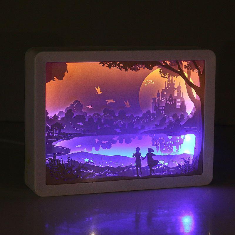 ورقة الإطار 3D نحت النحت ضوء مربع ليلة ورقة ضوء الليل ضوء الإبداعية الظل لوحة أضواء ABS مصباح الديكور