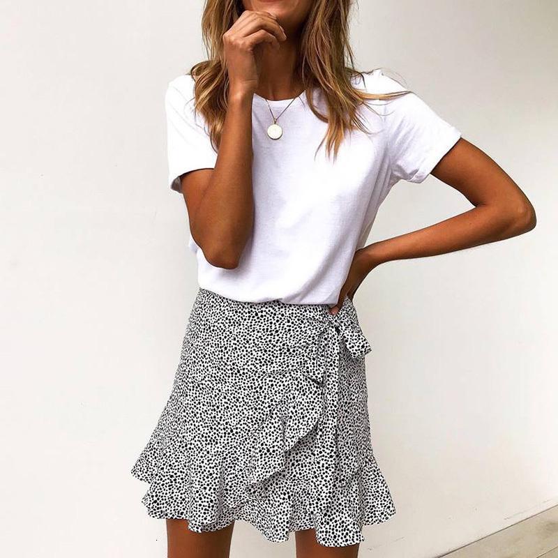 Çoklu Nokta Baskı Kısa Mini Etek Kadınlar Yaz fırfır Yüksek Bel Bow Tie Etek Bayan Streetwear İnce Bottoms SAIAS 2020