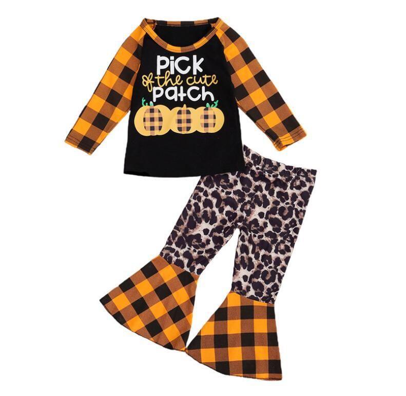منقوشة اطفال اطفال هالوين 2PCS ملابس القرع طويلة الأكمام Lepoard الكشكشة سروال مجموعة
