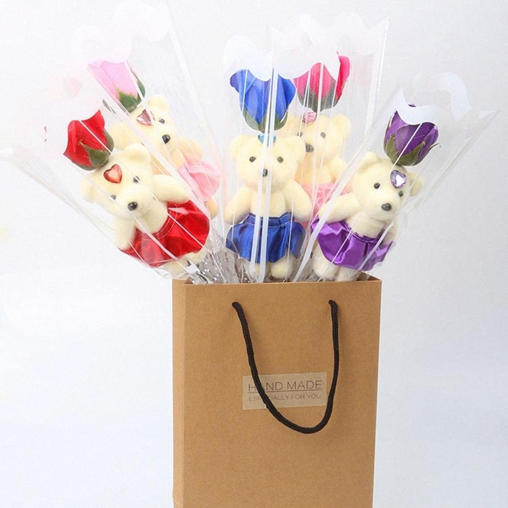 Box bagno profumato Sapone Rose Orso Sapone del petalo del fiore con il regalo per San Valentino Nozze San Valentino Mothers Day Festa degli insegnanti zjAw #