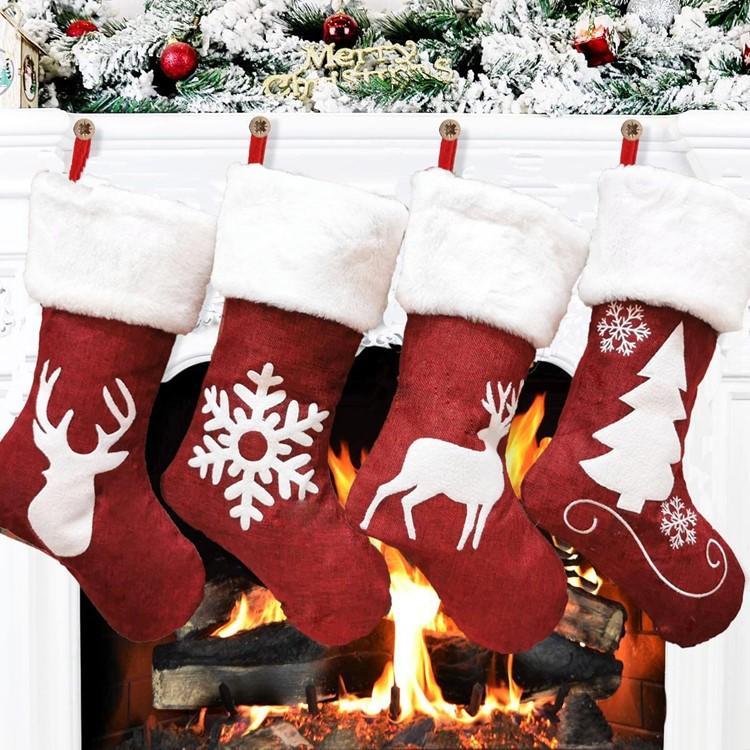 sac cadeau de Noël kenaf élans flocon de neige broderie chaussettes cadeaux de Noël fête de Noël à l'intérieur Pendentif T50080