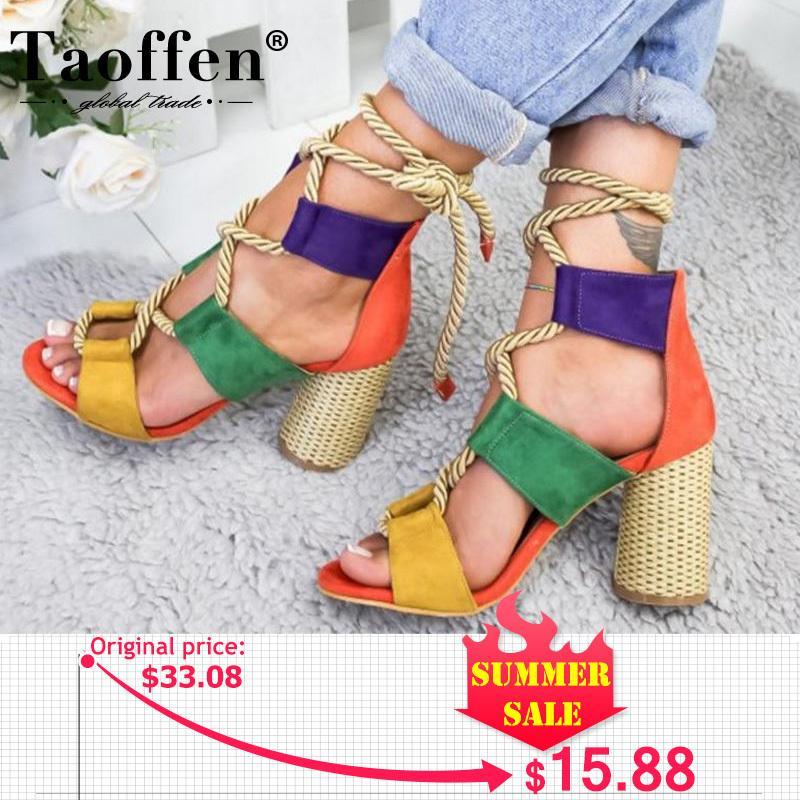 TAOFFEN Sommer-Platz Heel Damen Sandalen 7cm Heel Peep Toe Schuhe Frauen Hemp Lace Up Fashion Frauen-Plattform Schuhe Größe 35-43 Y200620