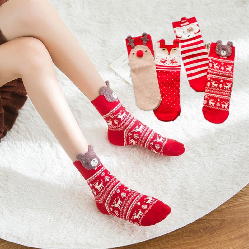 على غرار عيد الميلاد الجوارب عيد ميلاد سعيد الشتاء جوارب سميكة الجوارب ديكور 2021 Cartoo نساء الجوارب 4 لون