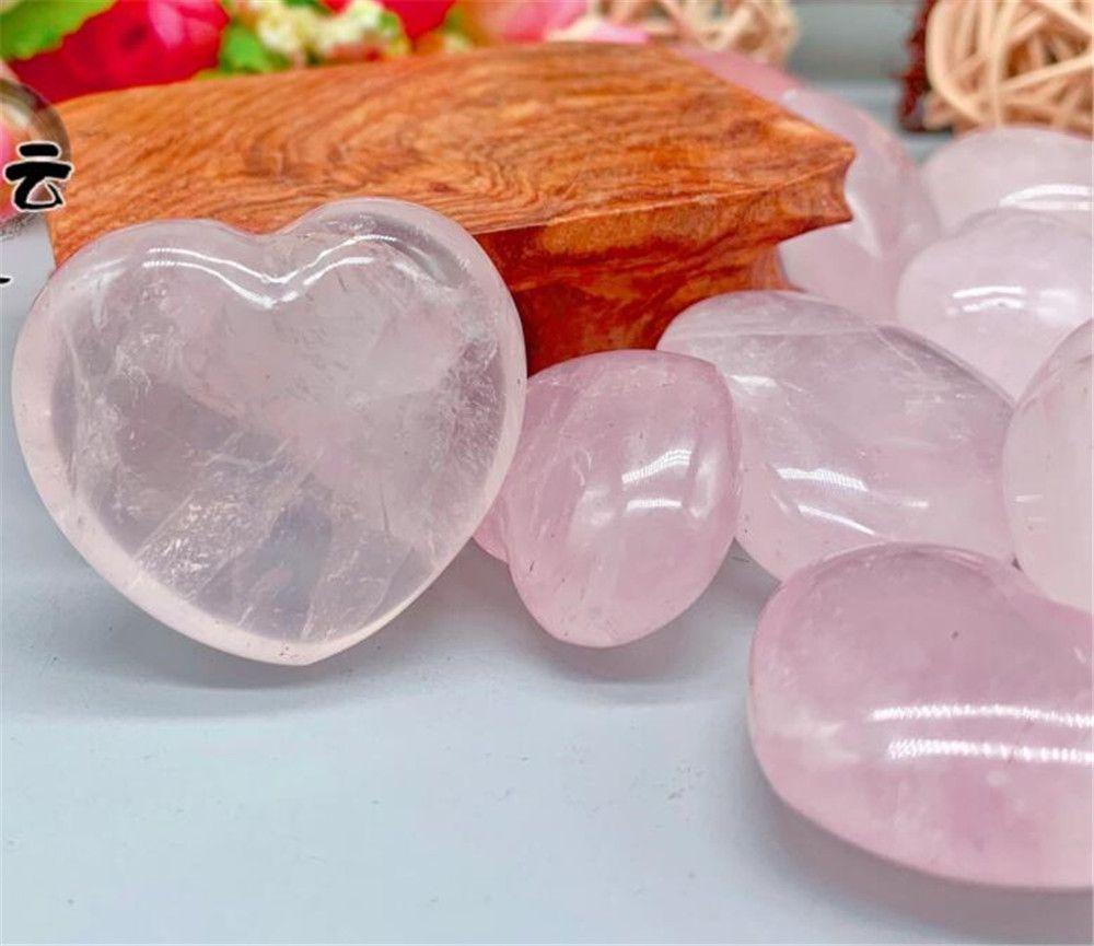 Heart Shaped Cristais de pedra Gemstones Natural Quartzo Rosa Amor Puffy amor cura de cristal Gemstone Decoração Início DIY