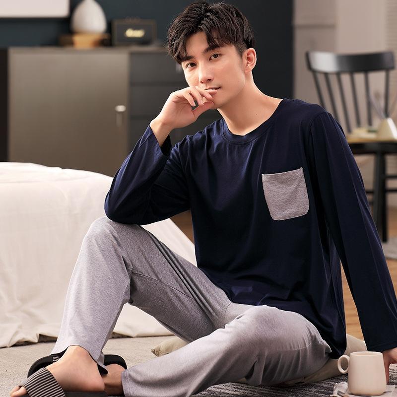 pijamas para homens KPrQX TI1j9 Modal verão calças de manga comprida capuz definir calças calças primavera terno terno e casual outono pullover househ fina