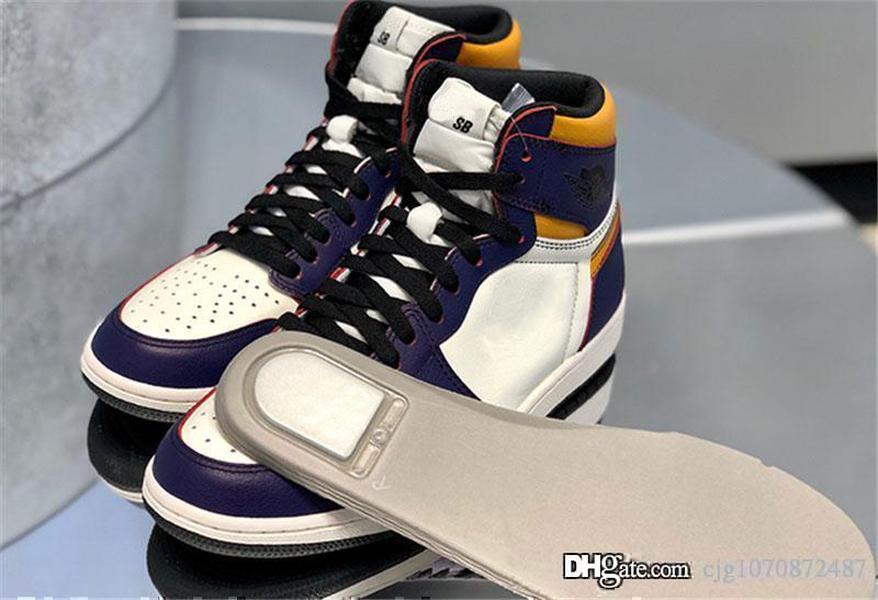 Yeni Otantik Orijinaller Hava Yüksek 1 OG Meydanı Basketbol Ayakkabı SB Lakers Işık Kemik Mahkemesi Mor Siyah Altın Retro Erkekler Sneakers CD6578-507