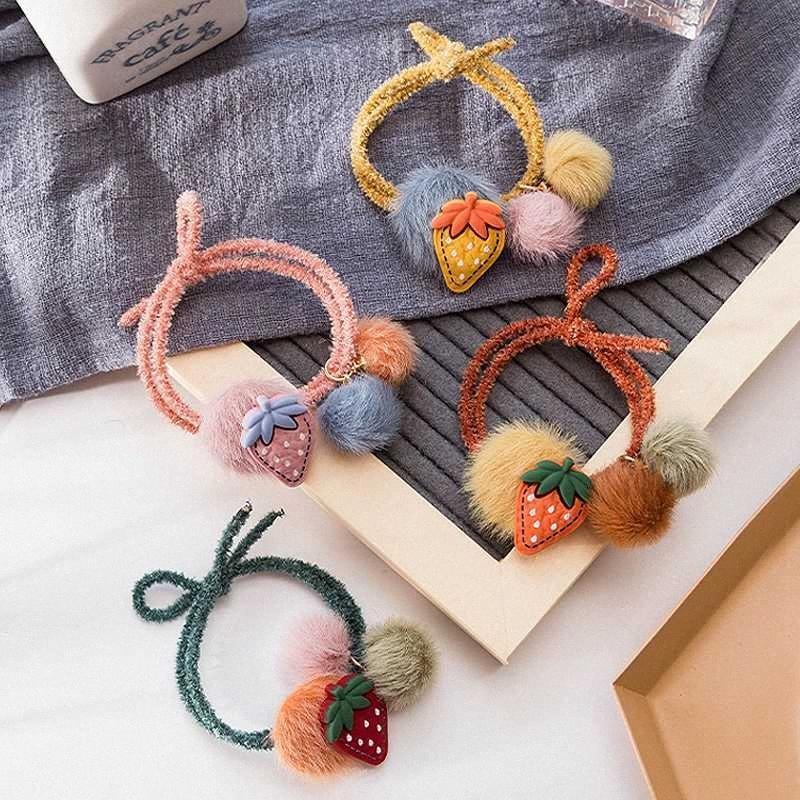 Nueva cuerda cuerda de pelo bola de pelo linda femenina de fresa Corea del Sur ins círculo fruta chica Sen accesorios femeninos adornos lJ0y #