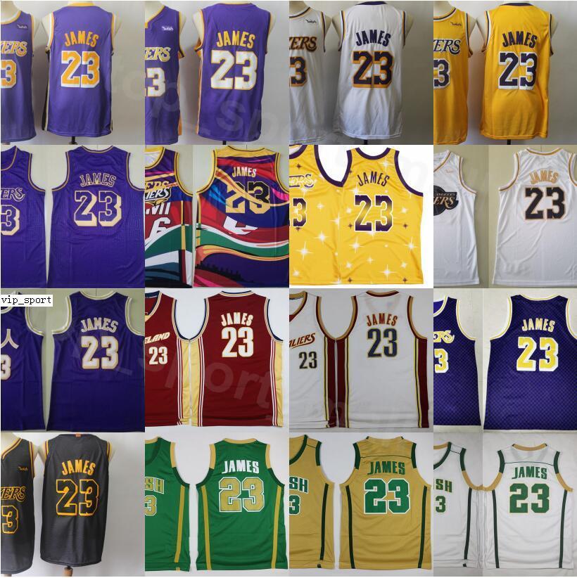 Hommes LeBron James 23 Basketball Maillots Vintage Tune Squad Looney Tunes Cousu Saint-Vincent-Mary Haute école irlandaise Violet Jaune Blanc Rouge