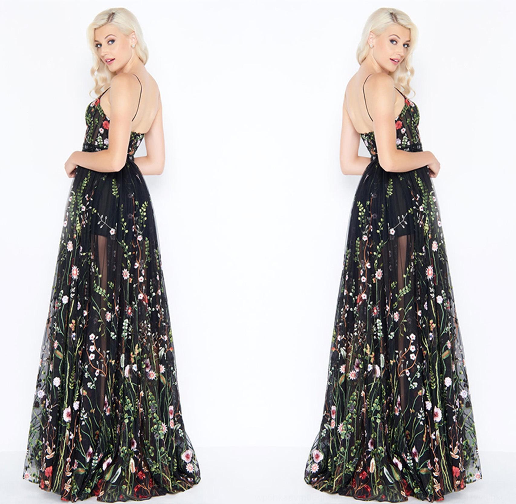 i44SQ Sling 2020 jarretelle soir A2p5p robe de soirée longue robe brodée femmes