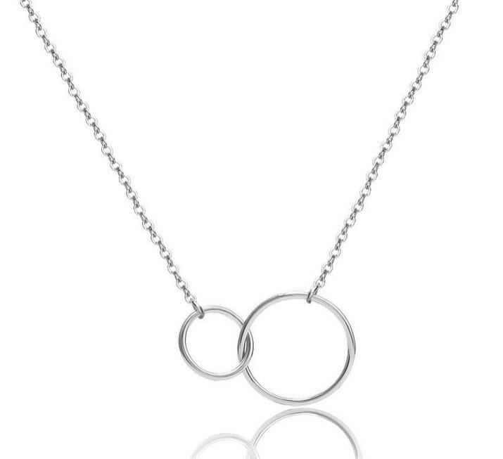 Casual Circle Circle Colar de Prata Corrente de Ouro Mulheres Inicial Eternidade Interlocking Hoop Infinity Pingente Declaração Colares