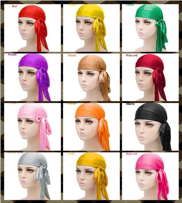 2020 Hot vente satin Durags Bandana hommes Turban Perruques hommes Silky Durag Couvre-chef Bandeau Pirate Hat Accessoires cheveux 18 Sélection de couleur