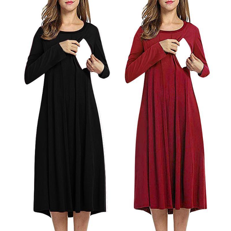2021 Maternity Dresses Winter Breastfeeding Dress Long Sleeve Nursing Dress Elegant Solid Zipper Maternity Dresses Breastfeeding Wy4 From Qwinner 37 14 Dhgate Com