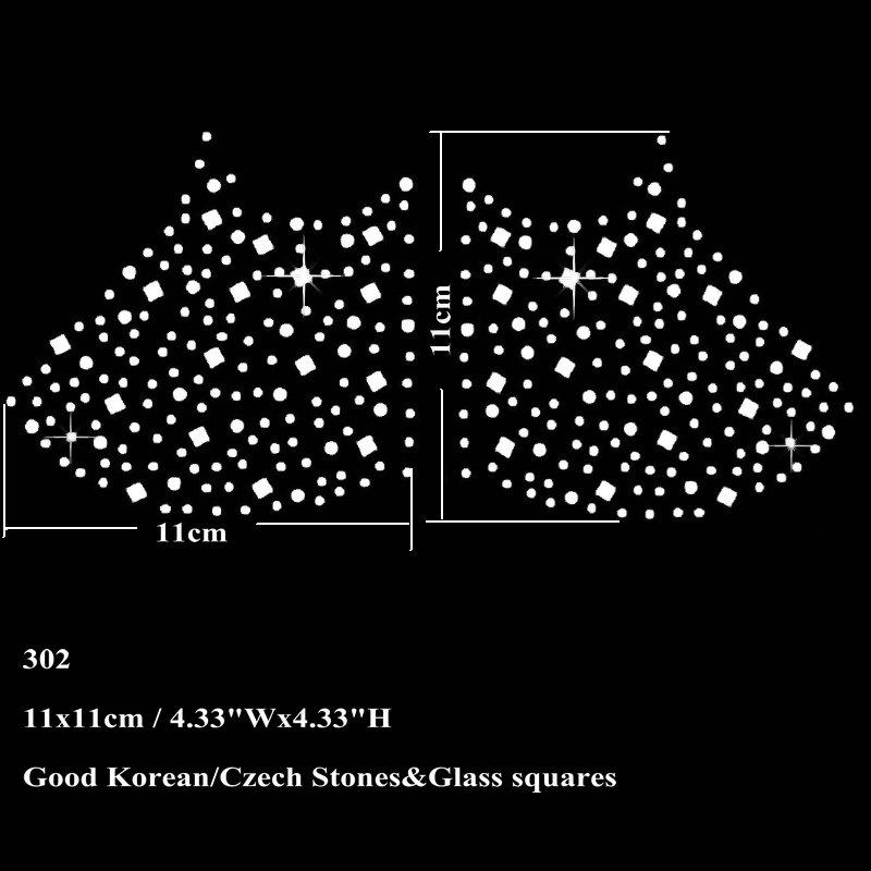 11x11cm Hotfix Rhinestone Iron On Transfer Star With Glass Squares Motif Sticker New For Face Mask