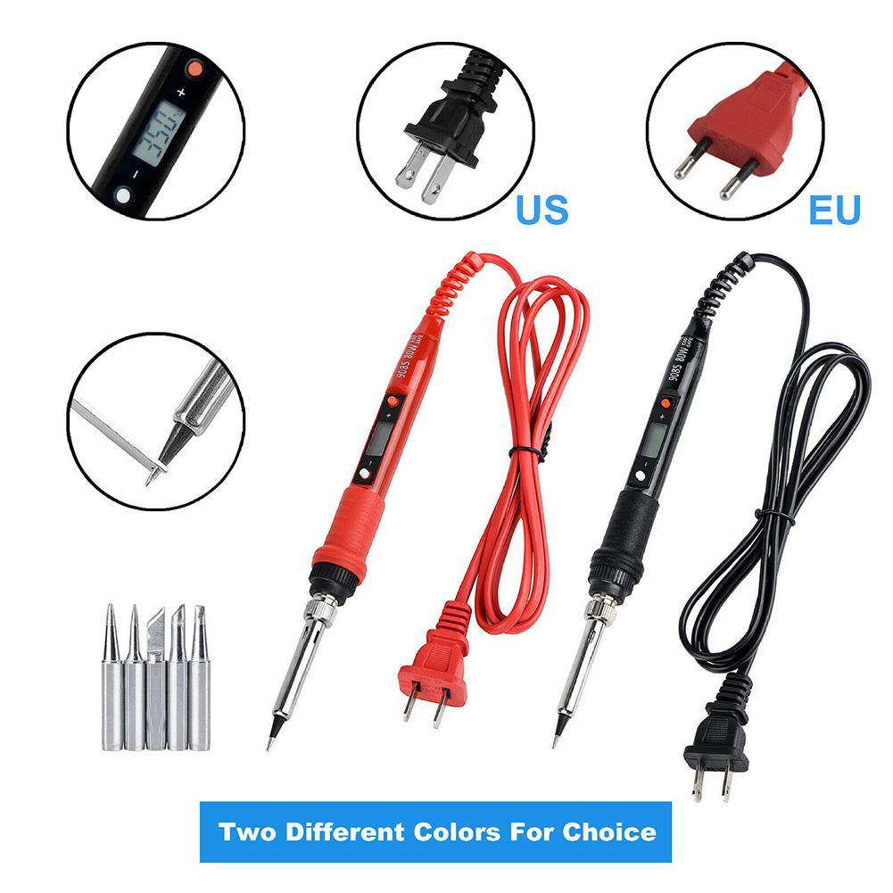 80W électrique fer à souder température réglable LCD numérique 110V 220V soudage Fer à souder Conseils de réparation Rework Tool Kit